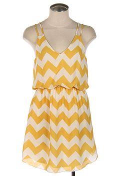Summer Recreation Double Strap Chevron Print Dress in Sunshine Yellow