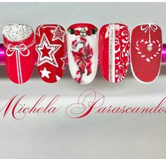 Trendy Nails Christmas Red Gold New Years Ideas Xmas Nails, New Year's Nails, Holiday Nails, Love Nails, Red Nails, White Nail Designs, Diy Nail Designs, Gold Glitter Nails, Red Glitter