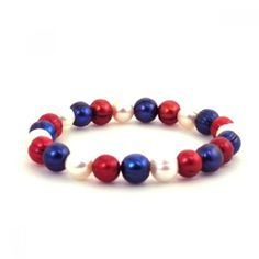 Honora USA Pride Bracelet with Freshwater Pearls in Red, White & Blue