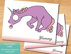 Unicorn Eating a Cupcake Card - Downloadable by allybstudio on Etsy