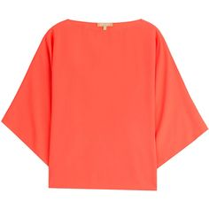 Michael Kors Collection Silk Blouse ($410) ❤ liked on Polyvore featuring tops, blouses, orange, orange blouse, 3/4 sleeve silk blouse, shiny blouse, red top and red blouse