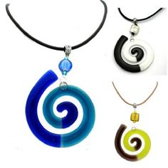 Spiral Glass Pendant on Leather Cord