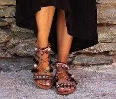 Leather Sandals Greek Sandals Bohemian Style by DimitrasWorkshop