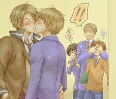 Gakuen Hetalia USUK (almost) kiss