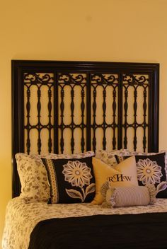Made from an old fireplace screen do it yourself pinterest fireplace screen with screens removed molding new headboard solutioingenieria Image collections