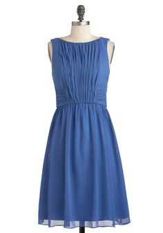Swept Off Your Feet Dress in Periwinkle - Mid-length, Blue, Solid, Ruching, Party, A-line, Sleeveless, Wedding, Fit & Flare