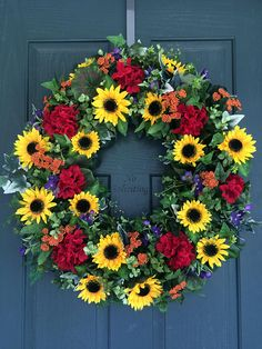 Summer Wreath, Summer Door Wreath, Sunflower Wreath, Sunflower Door Wreath,  Fall Wreath