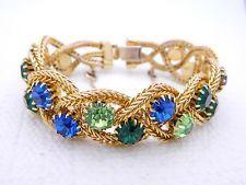 VTG Gold Tone Blue Green Rhinestone Heavy Braided Bracelet Safety Chain