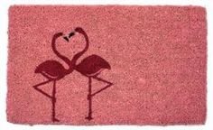 "Flamingos Coir Mat by Imports Unlimited. $30.00. Hand made from all-natural coconut fiber which is an excellent dirt-trapper; 3/4"" thickness. This mat is hand stenciled with permanent fade-resistant dyes.. 18 in x 30 in.. Romance in pinka pair of graceful flamingos dance together forming a heart on this coir doormat. Celebrate your love for Valentines Day, a wedding, or an anniversary! Hand woven, stenciled and painted in India, these doormats are very durable and the b..."