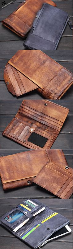 Handmade men long leather wallet clutch men bifold vintage gray brown