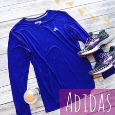 Adidas Longlseeve Ultimate Tee  ★ NWOT, in perfect condition.  ★ Bright blue/purple color! So perfect for spring and summer exercise activities.  ★ 85% Polyester    15% Cotton. ★ NO TRADES!  ★ YES OFFERS! ✅ ★ Measurements available by request.  Adidas Tops