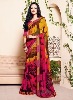 Aspiring to make a mark in the world of style, here is the attire to breath life into your aspirations. Add a vibrant burst of shade with your wardrobe with this multi colour georgette casual saree. T...