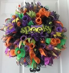 Spooky Halloween Wreath Curly Deco Mesh Door by PJCreativeWreaths, $50.00