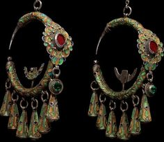 Dewwah Cloisonne Silver Earrings, Tahala, Morocco, Circa 1835