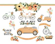 Wedding Car, Bicycle, Tandem, Scooter and Vintage Bike Floral Clip Art - Blog Graphics - Instant Download by KellyJSorenson on Etsy https://www.etsy.com/listing/200684059/wedding-car-bicycle-tandem-scooter-and