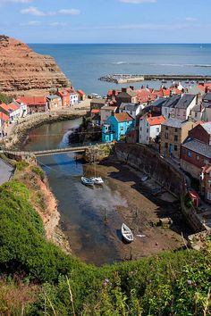 High angle view of Staithes north yorkshire