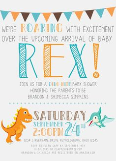 Printable Dinosaur Baby Shower Invitation Set: Invite + Diaper Raffle  Ticket + Book Request   Chalkboard Style   I Design You Print | Invitation  Set, ...