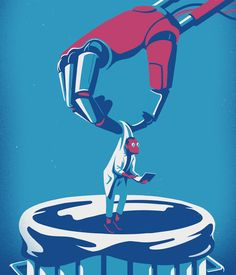 Dangers of Artificial Intelligence. Illustration by Eric Chow. Represented by i2i Art Inc. #i2iart