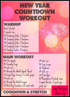 An effective, heart-pumping interval workout to get your New Year started right! Try this New Year Countdown Workout from The Lyons' Share! Countdown Workout, 45 Minute Workout, New Years Countdown, Cross Training Workouts, Air Squats, Running On Treadmill, Holiday Style, Body Workouts, Tabata