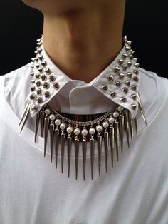 studded collar and the necklace : ♥