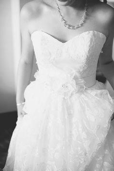 Catholic Church Summer Wedding   Getting Ready   Stunning wedding dress with floral belt