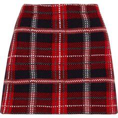 Miu Miu Tartan wool-tweed mini skirt