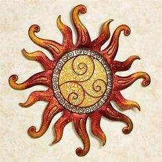 Swirling Sun Indoor Outdoor Metal Wall Art