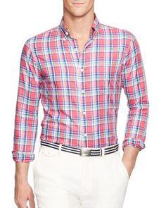 POLO RALPH LAUREN Plaid Oxford Regular Fit Button Down Shirt. #poloralphlauren #cloth #shirt