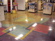 Beautiful floor for a hardware store.  Great use of color and skilled polished concrete techniques. Diamond Polishing Systems Puyallup, WA