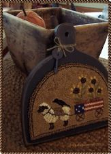 Americana Sunflower Cart- Original Primitive Punch NeedLe Sheep Crow Hornbook