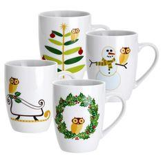 4-Piece Holiday Hoot Mug Set