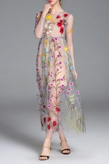SHARE & Get it FREE | Floral Embroidered See-Through Long Sleeve DressFor…