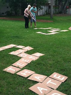 """Backyard Scrabble (or Bananagrams): There are 144 """"tiles."""" Here's how many of each letter you need. 2: J, K, Q, X, Z 3: B, C, F, H, M, P, V, W, Y 4: G 5: L 6: D, S, U 8: N 9: T, R 11: O 12: I 13: A 18: E"""