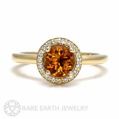 18K Diamond Halo Citrine Engagement Ring  November Birthstone Gemstone Ring