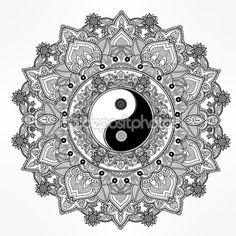 Yin and Yang mandala symbol. — стоковая иллюстрация #89175078