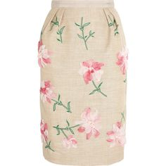 Oscar de la Renta Floral-appliquéd linen-blend skirt (3.315 RON) ❤ liked on Polyvore featuring skirts, saias, faldas, sand, petite skirts, embroidered skirt, knee high skirts, floral printed skirt and floral print skirt