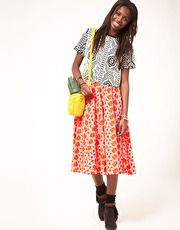 ASOS Full Skirt With Neon Embroidery
