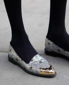 mirabile visu - wgsn:   Some fancy slippers with metallic foil...