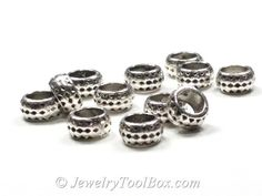 Rondelle Beads, Silver Pewter Spacers, 4x8mm, 5mm hole, Antique Silver Finish, Lead Free, Lot Size 12 to 50,  #1222