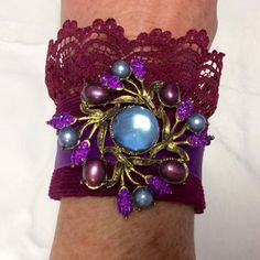 Maroon Purple Corduroy Lace Fabric Cuff by KittensOriginals, $40.00  SO awesome!! Love the color in this cuff!!