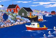Nova Scotia Folk Art Maud Lewis, Simple Paintings, Art Fantaisiste, Fork Art, Art Populaire, Atlantic Canada, Acrylic Painting Tutorials, Naive Art, Ocean Art