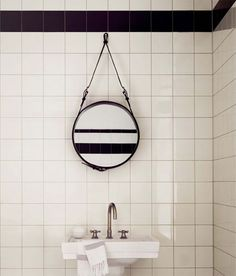 Interiors: Black and White  Square Field Tile with Rope Mirror