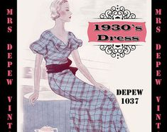 Vintage Sewing Pattern 1930's Dress in Any Size Depew 1037 Draft at Home Pattern - PLUS Size Included -INSTANT DOWNLOAD-