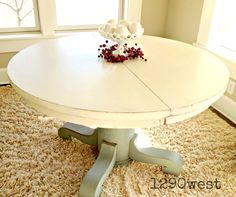 Latest piece from 1290west! Antique oak pedestal table finished in ASCP's Duck Egg Blue and Old White.