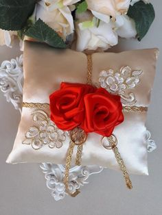 Beauty And The Beast Wedding Ring Pillow Belle Ring Bearer Disney Themed Ring Pillow Ivory Pillow With Red Roses Ring Cushion Disney Decor Ivory Wedding Flowers, Rose Petals Wedding, Bridesmaid Flowers, Red Wedding, Wedding Disney, Beauty And The Beast Wedding Theme, Wedding Beauty, Ring Pillow Wedding, Wedding Ring
