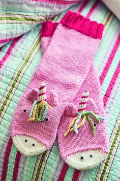Knitting Pattern for Unicorn Socks - These pretty unicorn socks are worked in th. Knitting Pattern for Unicorn Socks - These pretty unicorn socks are worked in the round from the top down, then worked i. Unicorn Knitting Pattern, Mittens Pattern, Lace Knitting, Knitting Socks, Knitting Patterns Free, Knitting For Kids, Knitting Projects, Beginner Knit Scarf, Aran Weight Yarn