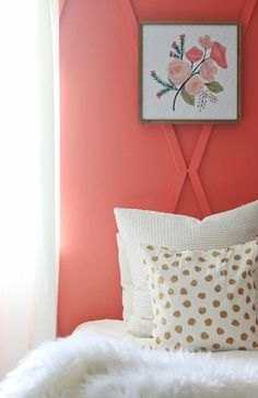 Before and After Coral Bedroom - Thistlewood Farm Accent Wall Bedroom, Gold Bedroom, Bedroom Orange, Interior Paint Colors, Interior Design, Coral Paint Colors, Cafe Interior, Coral Pantone, Pantone Color