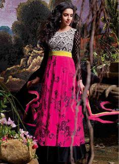 Asin Georgette Resham Work Magenta Anarkali Salwar Kameez   Item Code: 4236