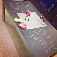 Love my new play table!! Used an old coffee table to create an imagination station with chalkboard and Lego board!