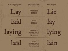 Lay vs. lie - it is sad that more people do not understand the difference and use them accordingly
